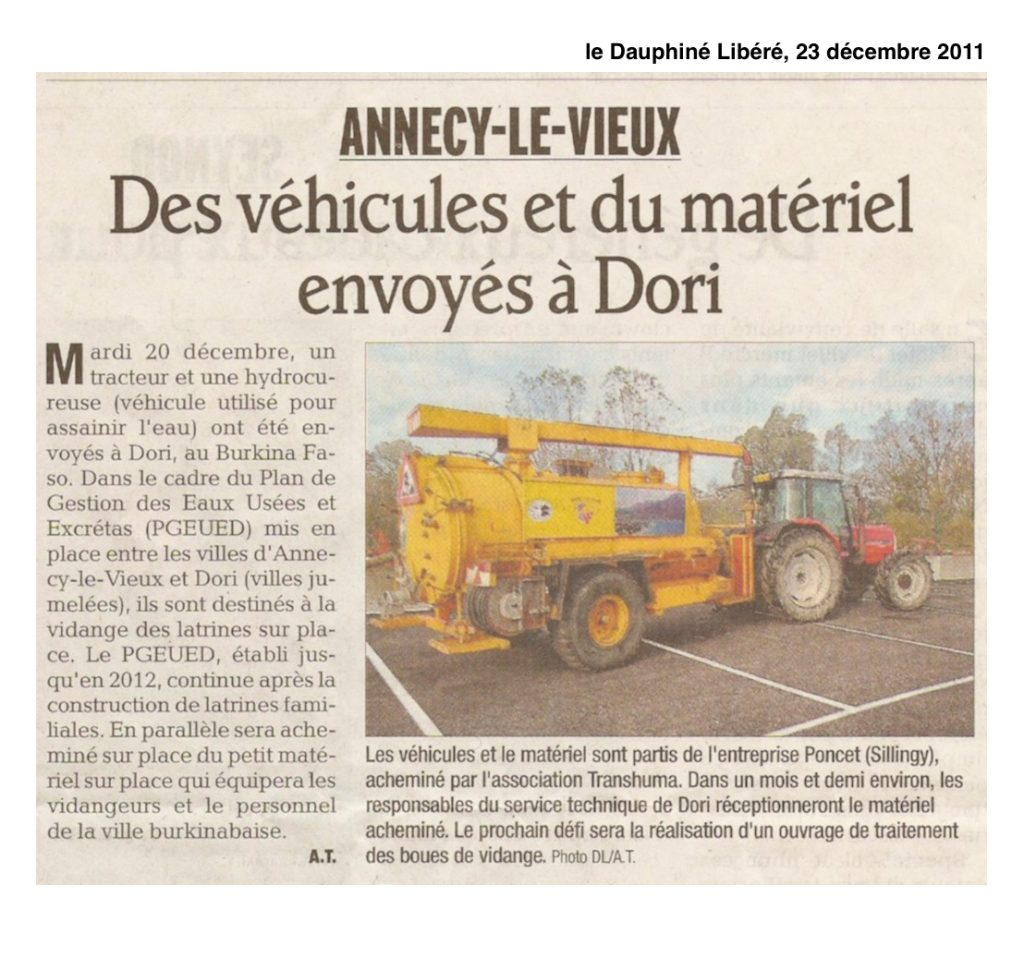 Une hydrocureuse et du matériel envoyés à Dori