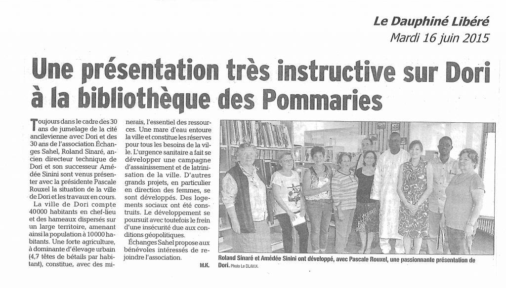 Une rencontre à la bibliothèque des Pommaries avec Amédée Sinini et Laurent Sinaré, acteurs de terrain dans notre commune jumelle