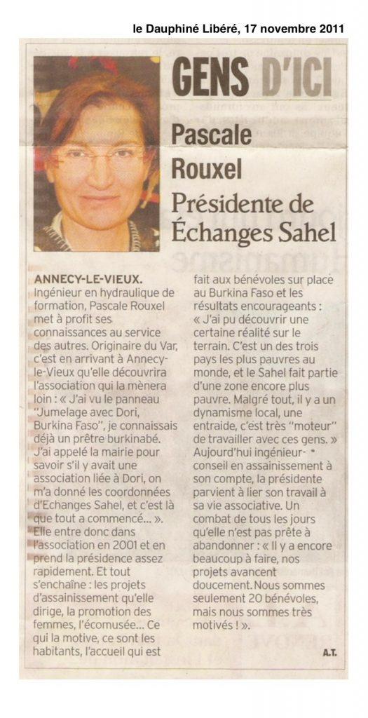 Pascale Rouxel, présidente d'Échanges Sahel