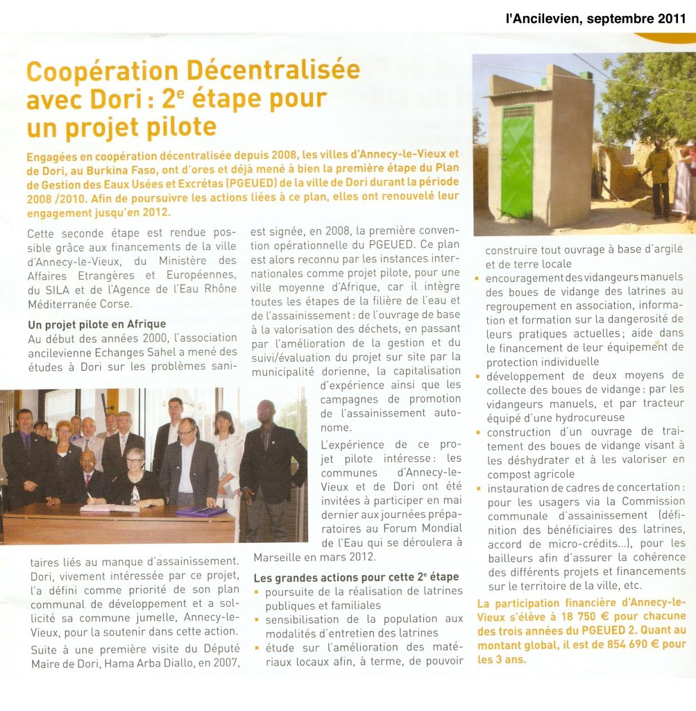 Projet pilote Dori - L'ANCILEVIEN sept 2011