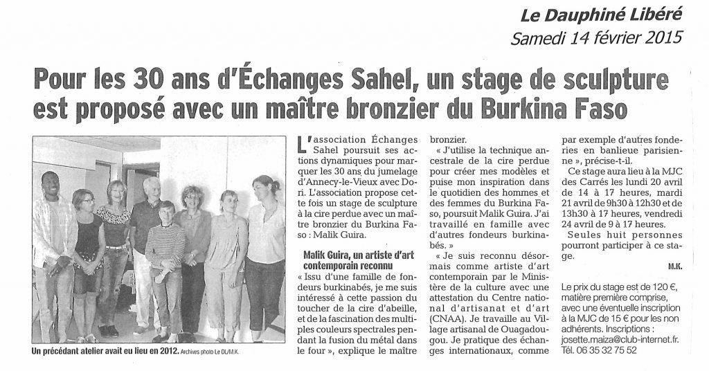 Pour les 30 ans d'Echanges Sahel, s'essayer à la sculpture avec un maître bronzier du Burkina Faso