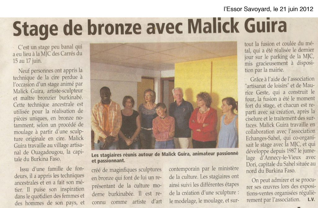 Stage de bronze avec l'artiste contemporain Malick Guira