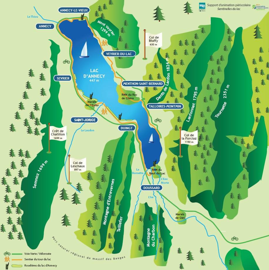Carte puzzle du lac d'Annecy